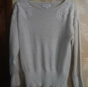 Elle grey shimmery lace sweater long sleeves